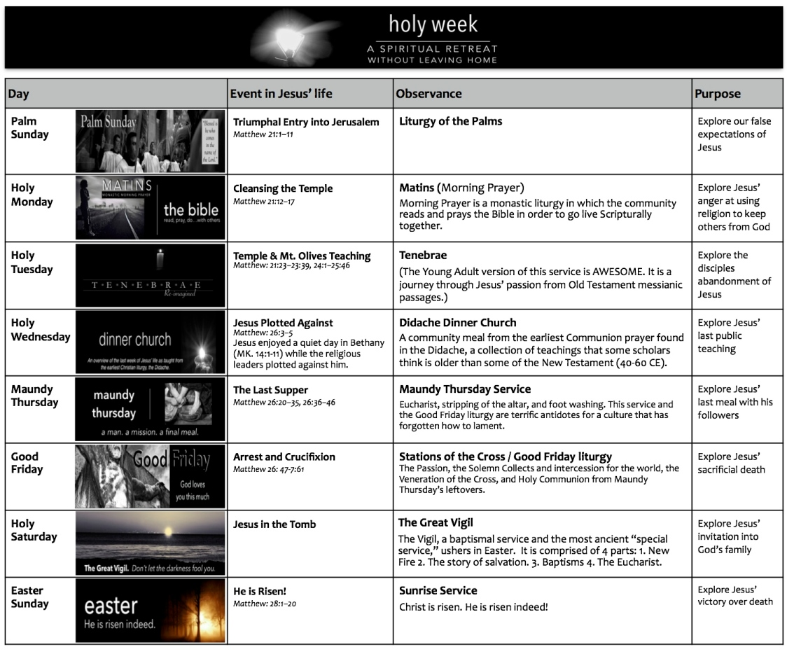 Holy Week Sched 2014 Blog