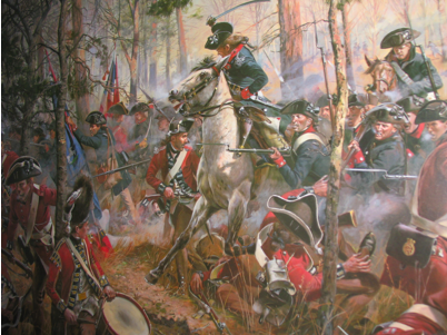 Photo of the Battle of Cowpens in the Charleston Custom House.